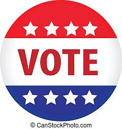 ilustrado, voto, imagen, botón