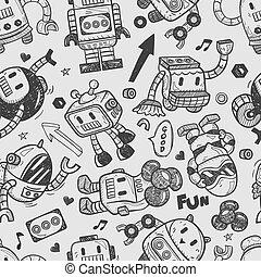 ilustrador, seamless, patrón, robot, línea, herramientas, dibujo