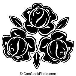 Ilustre ilustración de rosas blancas y negras