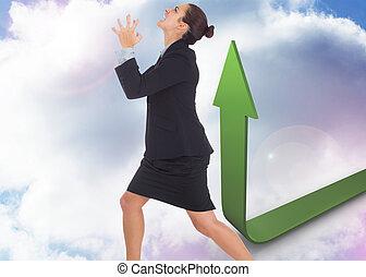 Imágenes compuestas de una mujer de negocios enfadada