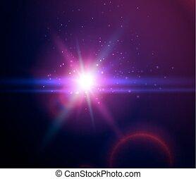 Imágenes de color azul vector azul efectos de luz con el planeta, rayos resplandecientes de fondo, ilustración vectores espaciales