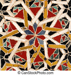 Imágenes de detalle del antiguo pavimento mosaico en la catedral de Amalfi, Campania, Italia, Europa