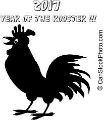 Imágenes de gallo en fondo blanco. Feliz concepto de año nuevo. Señal de zodiaco chino 2017
