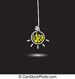 Imágenes de luz colgando en el fondo negro - concepto de icono vector. Este gráfico también representa la resolución de problemas creativos, mente genio, pensamiento inteligente, mente inventiva, hombre innovador, pensamiento abstracto