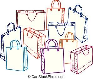 Imágenes de un conjunto de bolsas de compras. Todos los objetos aislados