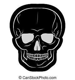Imágenes de un cráneo humano negro. Ilustración de vectores
