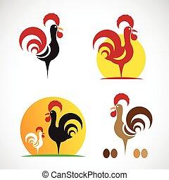 Imágenes de un diseño de pollo sobre fondo blanco