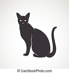 Imágenes de un gato en un fondo blanco. Silueta