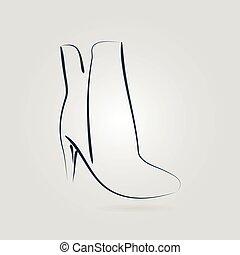 Imágenes de una elegantes botas femeninas en los talones