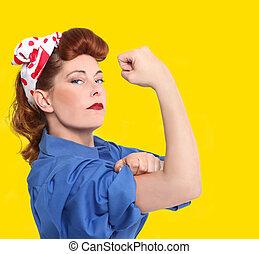 Imágenes iconicas de una trabajadora de la fábrica de 1950