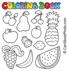 imágenes, libro colorear, fruits