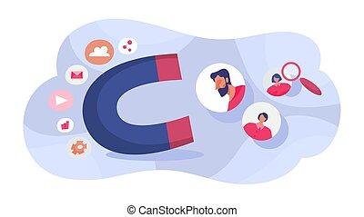 imán, concept., gente, retención, atraer, cliente
