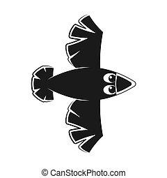image., vector, aislado, fondo., icono, cuervo, silueta, blanco, divertido