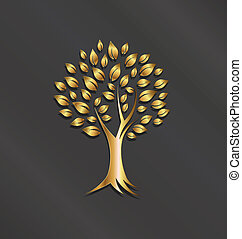 imagen, árbol, oro, logotipo, planta