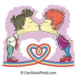 imagen, él, alegre, decoración, aislado, parejas, vector, kissing., caricaturas
