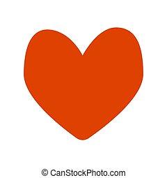 Imagen aislada de un corazón rojo. Ilustración de vectores