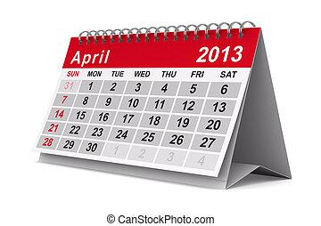 imagen, aislado, calendar., april., año, 2013, 3d