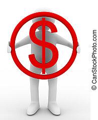 imagen, asideros, dólar, aislado, fondo., hombre de negocios, blanco, 3d
