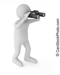 imagen, binocular, aislado, hombre, fondo., 3d, blanco