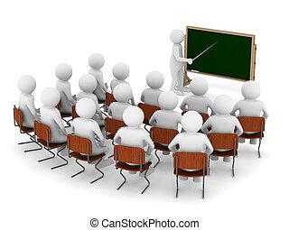 imagen, blackboard., aislado, indicador, profesor, 3d