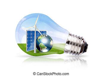 imagen, célula, tierra, viento, dentro, solar, bombilla, amueblado, nasa), luz, (elements, esto, turbina