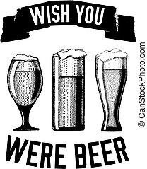 imagen, cita, vector, cerveza, cervezadorada, sobre, cerveza, mano, dibujado, cerveza inglesa, cerveza negra