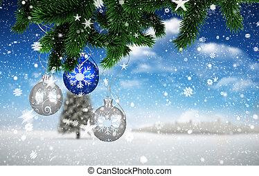 Imagen compuesta de decoraciones navideñas