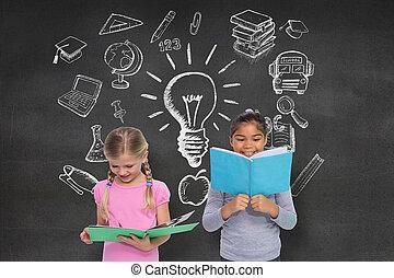 Imagen compuesta de la lectura de alumnos elementales