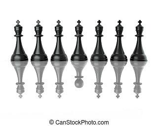 Imagen conceptiva de falso liderazgo. Ajedrez. 3D