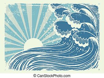imagen, día, sea., azul, sol, ondas, vectorgrunge, tormenta, grande