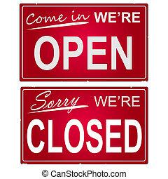 """Imagen de """"abiertos"""" y """"cerrados"""" signos de negocios."""
