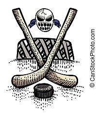 Imagen de dibujos animados de icono de hockey. Simbolo deportivo