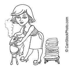 Imagen de dibujos animados de mujer planchando
