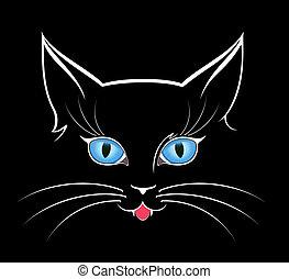 Imagen de ojos de gato en la oscuridad