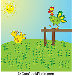 Imagen de un gallo y un pollo