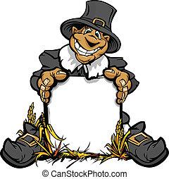Imagen de vector cartoonal de un feliz pigrim festivo sosteniendo una señal