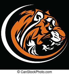 Imagen de vector gráfico de mascota tigre