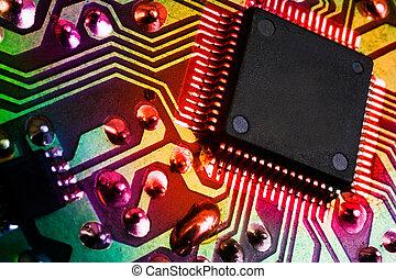 imagen, electrónico, detalle, plano de fondo, microprocesador