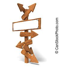 imagen, escritura, señal, mensaje, encima, poste, plano de fondo, de madera, poder, -, flechas, blanco