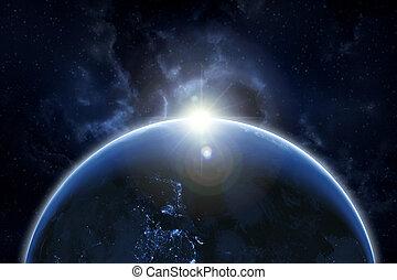 imagen, espacio, esto, nasa, arte, azul, encima, wallpaper., elementos de tierra, gradiente, salida del sol, amueblado