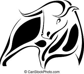 Imagen gráfica de un toro negro fuerte. Ilustración de vectores