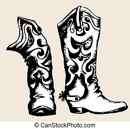 imagen, gráfico, .vector, botas, vaquero