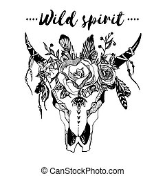 imagen, invitación, carteles, estilo, elegancia, flores, camiseta, ilustración, cráneo, moda, salvaje, boho