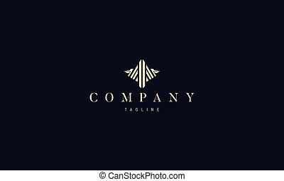 imagen, logotipo, vector, pelican., resumen, dorado