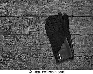 imagen, mesa., guantes, negro, blanco, de madera, mujeres