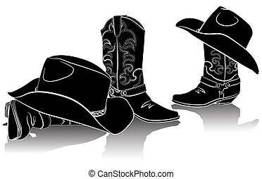 imagen, negro, hats., backg, gráfico, botas de vaquero, occidental, blanco
