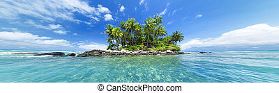 Imagen panorámica de la isla tropical. Un sitio Web o un diario fotográfico o un diseño para viajes, turismo, mar o tropical.