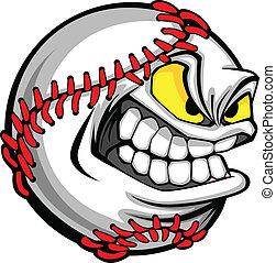 imagen, pelota, beisball, caricatura, cara