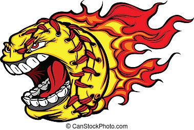 imagen, pelota, sofbol, estridente, fastpitch, cara, vector, llamas