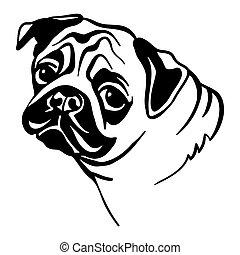 imagen, perro, vector, blanco, doguillo, plano de fondo